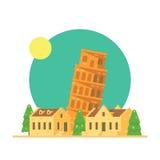 Projeto liso da torre inclinada de Pisa Itália com vila ilustração do vetor