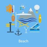 Projeto liso das férias da praia Imagem de Stock