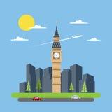Projeto liso de Big Ben ilustração do vetor