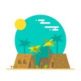 Projeto liso de bungalows da praia ilustração stock