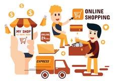 Projeto liso de compra em linha de Infographics Fotografia de Stock