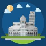 Projeto liso de construções quadradas do piza ilustração royalty free