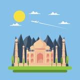 Projeto liso de Taj Mahal ilustração stock