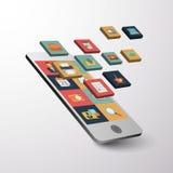 Projeto liso do ícone bonito de Smartphone e da tabuleta Fotografia de Stock Royalty Free