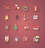 Projeto liso do ícone do Natal Imagem de Stock Royalty Free