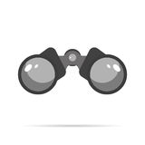 Projeto liso do ícone dos binóculos com círculo do azul da sombra Fotografia de Stock