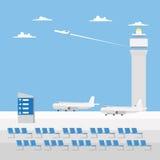 Projeto liso do aeroporto com céu agradável ilustração do vetor