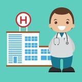 Projeto liso do backgrond do doutor e do hospital Imagens de Stock Royalty Free