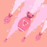 Projeto liso do céu de queda do formulário das bombas de amor ilustração royalty free