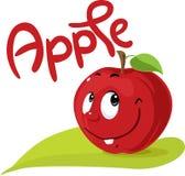 Projeto liso do caráter de Apple com símbolo do texto e da folha Foto de Stock Royalty Free