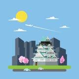 Projeto liso do castelo de Japão ilustração stock
