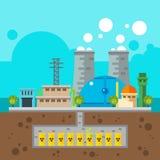 Projeto liso do central nuclear e dos resíduos nucleares no subsolo ilustração do vetor