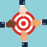 Projeto liso do conceito dos trabalhos de equipa da cooperação do negócio Imagens de Stock