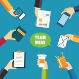 Projeto liso do conceito dos trabalhos de equipa e da reunião Foto de Stock Royalty Free