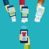 Projeto liso do conceito móvel do comércio eletrônico Imagem de Stock Royalty Free