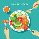 Projeto liso do conceito saudável do alimento ilustração royalty free