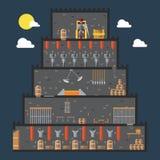 Projeto liso do Dungeon do castelo interno ilustração stock