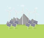 Projeto liso do eco, paisagem rural com moinho de vento, painéis solares, montanhas Fotografia de Stock Royalty Free