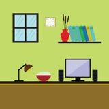 Projeto liso do escritório, ilustração do espaço de trabalho Computador Fotos de Stock