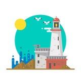 Projeto liso do farol em uma praia ilustração royalty free