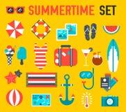 Projeto liso do fundo da ilustração do ícone do verão Imagens de Stock