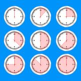 Projeto liso do grupo do ícone do relógio de ponto, ilustração do vetor ilustração stock