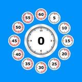 Projeto liso do grupo do ícone do relógio de ponto, ilustração do vetor ilustração do vetor