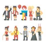 Projeto liso do grupo da mostra do circo ilustração royalty free