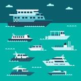 Projeto liso do grupo do barco ilustração stock