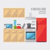 Projeto liso do interior da cozinha ilustração do vetor