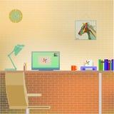 Projeto liso do interior moderno do escritório com cálculo ilustração do vetor