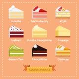 Projeto liso do menu do bolo ilustração do vetor