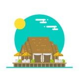 Projeto liso do restaurante excedente da praia da água ilustração stock