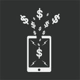 projeto liso do smartphone, projeto do dólar, projeto do seo Fotos de Stock Royalty Free