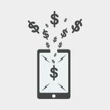 projeto liso do smartphone, projeto do seo, projeto do seo do dólar Foto de Stock Royalty Free