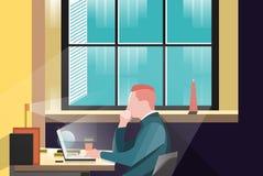 Projeto liso do trabalhador de escritório do foco ilustração stock