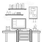 Projeto liso do vetor do local de trabalho home Espaço de trabalho para Imagem de Stock Royalty Free