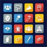 Projeto liso dos ícones da demonstração ou do protesto ilustração royalty free