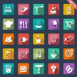 Projeto liso dos ícones do alimento ilustração royalty free