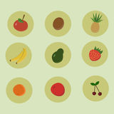 Projeto liso dos ícones do fruto Imagem de Stock Royalty Free