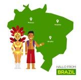 Projeto liso dos ícones do marco de Brasil do conceito do curso Imagens de Stock Royalty Free
