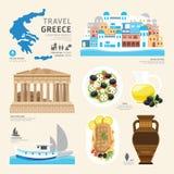 Projeto liso dos ícones do marco de Grécia do conceito do curso Vetor Imagens de Stock Royalty Free