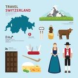 Projeto liso dos ícones do marco de Suíça do conceito do curso Vetor Fotografia de Stock