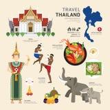 Projeto liso dos ícones do marco de Tailândia do conceito do curso Vetor Fotos de Stock