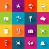 Projeto liso dos ícones do verão Imagem de Stock