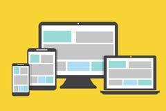 Projeto liso dos ícones dos dispositivos em um fundo amarelo Foto de Stock