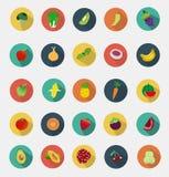 Projeto liso dos ícones das frutas e legumes do vetor Fotografia de Stock