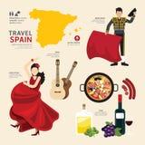 Projeto liso dos ícones do marco da Espanha do conceito do curso Vetor Imagens de Stock