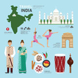 Projeto liso dos ícones do marco da Índia do conceito do curso Vetor Foto de Stock