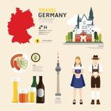 Projeto liso dos ícones do marco de Alemanha do conceito do curso Vetor Fotografia de Stock